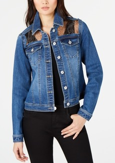 INC International Concepts I.n.c. Leopard-Trim Jean Jacket, Created for Macy's