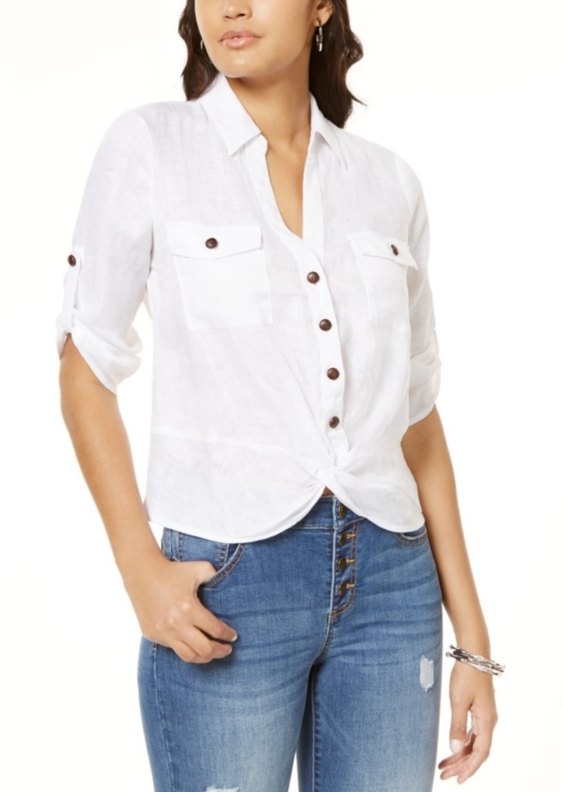 INC International Concepts Inc Linen Twisted Utility Shirt, Created for Macy's