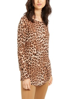INC International Concepts Inc Long-Sleeve Cheetah-Print Top, Created for Macy's