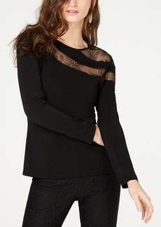INC International Concepts I.n.c. Long-Sleeve Illusion-Lace Top, Created for Macy's