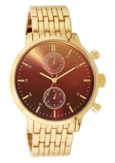 INC International Concepts Inc Men's Gold-Tone Bracelet Watch 43mm, Created for Macy's