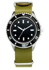 Inc Men's Green Leather Strap Watch 40mm, Created for Macy's