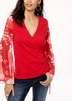 INC International Concepts I.n.c. Petite Printed-Sleeve Wrap Sweater, Created for Macy's