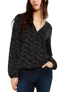 INC International Concepts Inc Petite Metallic-Knit Top, Created For Macy's