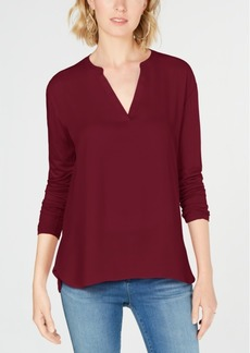 INC International Concepts I.n.c. Mixed-Materials Split-Neck Top, Created for Macy's