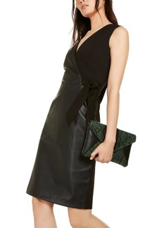 INC International Concepts Inc Mixed-Media Faux-Wrap Dress, Created For Macy's