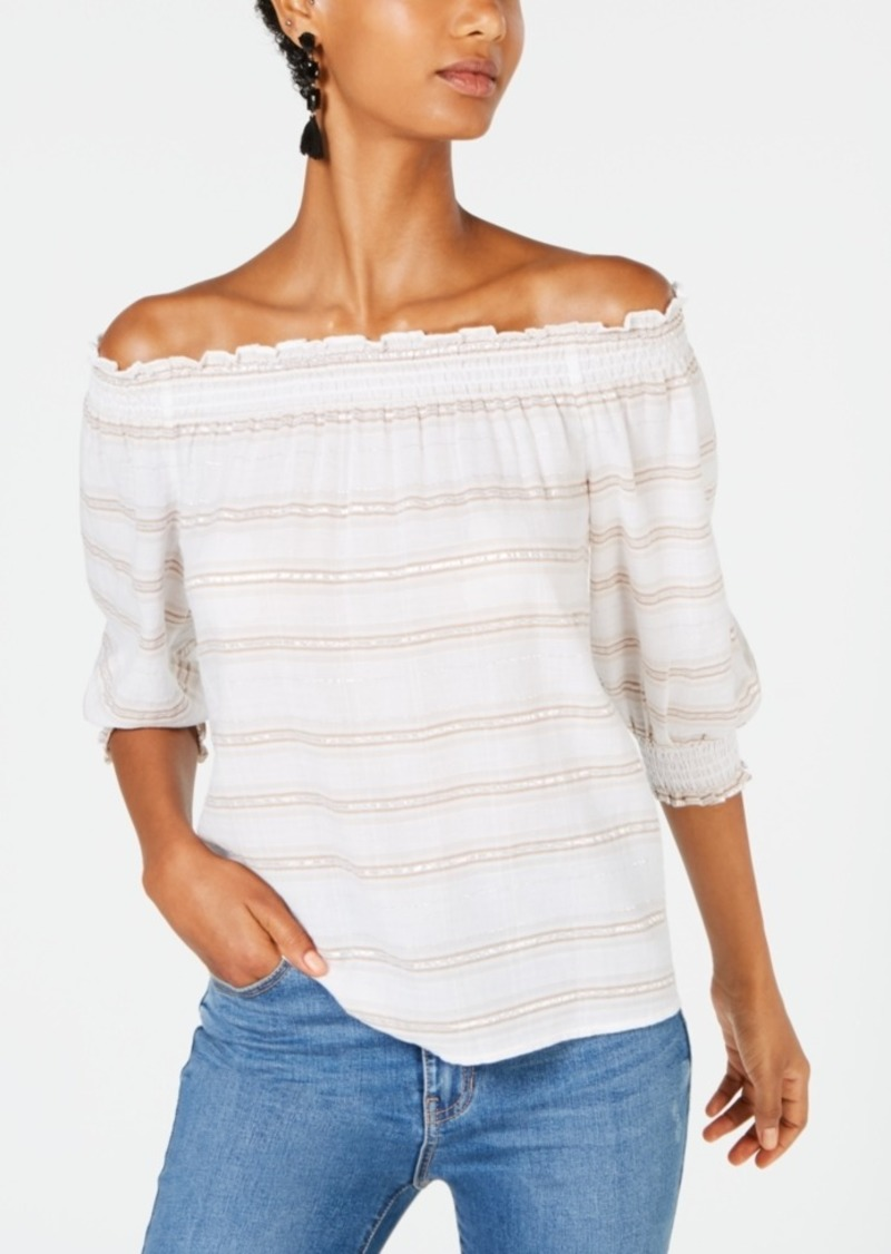 INC International Concepts Inc Novelty Stripe Off-The-Shoulder Top, Created for Macy's