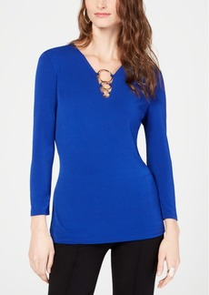 INC International Concepts Inc O-Ring V-Neck Top, Created for Macy's