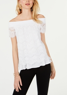 INC International Concepts I.n.c. Off-The-Shoulder Lace Top, Created for Macy's
