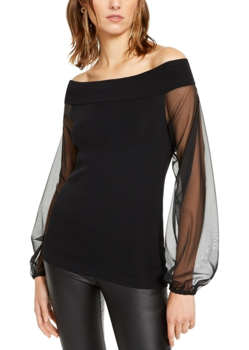 INC International Concepts Inc Off-The-Shoulder Sheer-Sleeve Sweater, Created For Macy's
