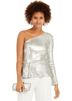 INC International Concepts Inc One-Shoulder Sequined Peplum Top, Created For Macy's