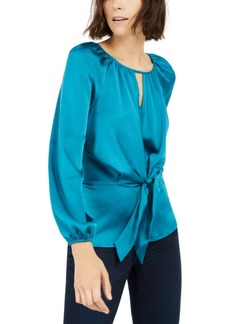 INC International Concepts Inc Pebbled Satin Tie-Front Blouse, Created For Macy's