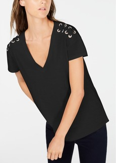 INC International Concepts Inc Petite Cotton Crisscross-Trim Grommeted Top, Created for Macy's