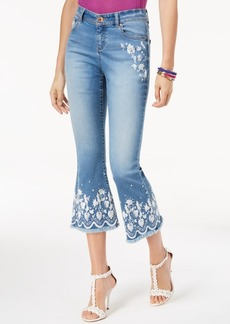 INC International Concepts I.n.c. Petite Embroidered Cropped Jeans, Created for Macy's