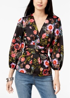 INC International Concepts I.n.c. Floral-Print Wrap Top, Created for Macy's