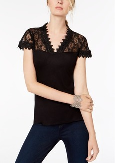 INC International Concepts Inc Petite Lace-Yoke Top, Created for Macy's