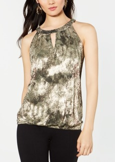 INC International Concepts Inc Metallic Keyhole Halter Top, Created for Macy's