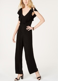 INC International Concepts I.n.c. Petite Metallic-Striped Flutter-Sleeve Jumpsuit, Created for Macy's