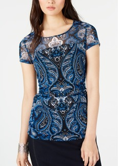 INC International Concepts I.n.c. Cap-Sleeve Paisley Illusion Top, Created for Macy's