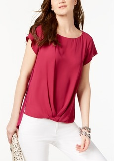 INC International Concepts I.n.c. Petite Pleated-Hem Top, Created for Macy's