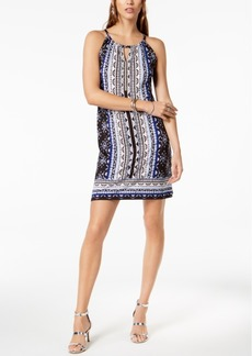 INC International Concepts I.n.c. Petite Printed Embellished Keyhole Halter Dress, Created for Macy's