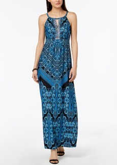 INC International Concepts I.n.c. Petite Printed Embellished Keyhole Maxi Dress, Created for Macy's