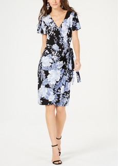 INC International Concepts I.n.c. Printed Flutter-Sleeve Wrap Dress, Created for Macy's