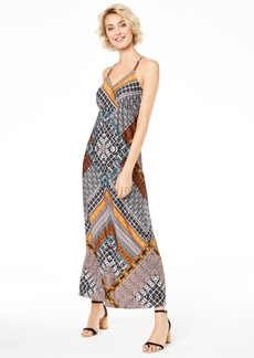 INC International Concepts Inc Printed Ring-Back Maxi Dress, Created for Macy's