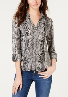 INC International Concepts Inc Printed Ruched Blouse, Created for Macy's