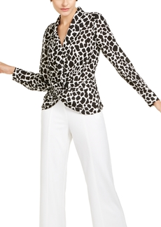 INC International Concepts Inc Giraffe-Print Twist-Front Blouse, Created for Macy's