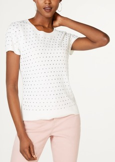 INC International Concepts Inc Rhinestone-Front Short-Sleeve Sweater, Created for Macy's
