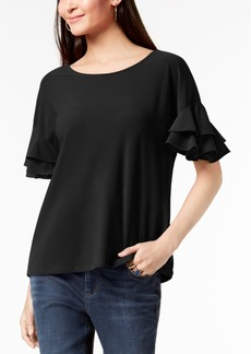 INC International Concepts Inc Petite Ruffled-Sleeve Top, Created for Macy's