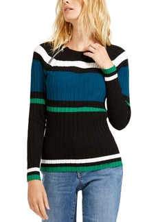 INC International Concepts Inc Striped Zipper Sweater, Created For Macy's