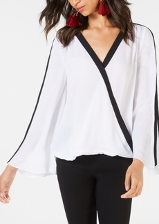 INC International Concepts Inc Contrast-Stripe Surplice Top, Created for Macy's