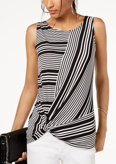 INC International Concepts Inc Petite Striped Twist-Hem Top, Created for Macy's
