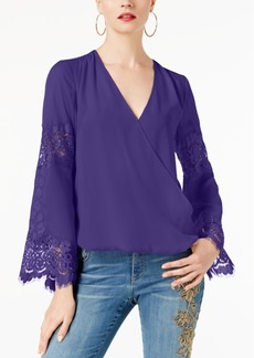 INC International Concepts I.n.c. Petite Surplice-Neck Lace-Inset Blouse, Created for Macy's