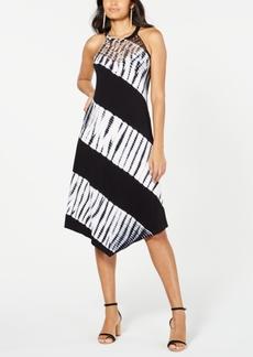 INC International Concepts Inc Petite Tie-Dyed Crochet-Trim Midi Dress, Created for Macy's