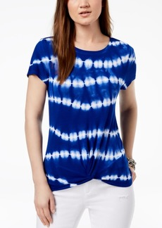 INC International Concepts I.n.c. Tie-Dyed Twist-Hem T-Shirt, Created for Macy's