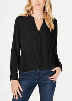 INC International Concepts I.n.c. Petite Twist-Front Button-Up Top, Created for Macy's