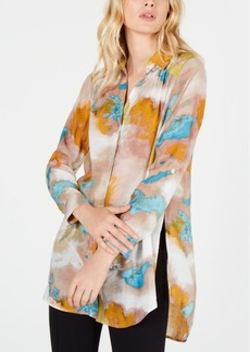 INC International Concepts Inc Petite Watercolor Tunic Blouse, Created for Macy's