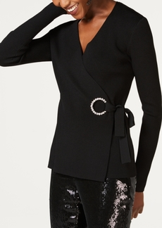 INC International Concepts Inc Embellished-Grommet Wrap Sweater, Created for Macy's