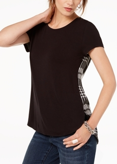 INC International Concepts I.n.c. Plaid Contrast T-Shirt, Created for Macy's