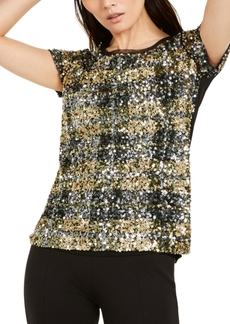INC International Concepts Inc Plaid Sequin Top, Created for Macy's