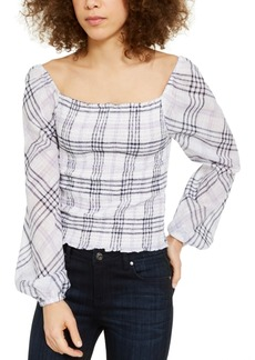 INC International Concepts Inc Plaid Smocked-Bodice Top, Created for Macy's