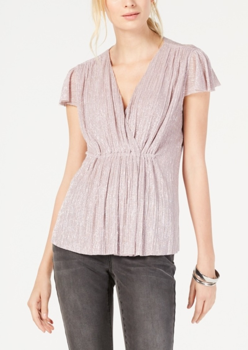 INC International Concepts Inc Pleated Metallic Cap-Sleeve Top, Created for Macy's