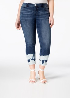 INC International Concepts I.n.c. Plus Size Ankle Jeans with Tie-Dyed Cuffs, Created for Macy's