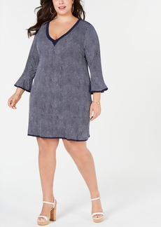 INC International Concepts I.n.c. Plus Size Bell-Sleeve V-Neck Dress, Created for Macy's