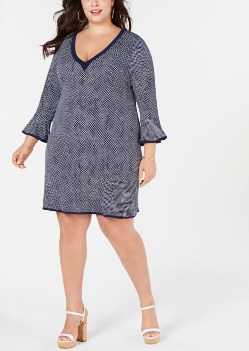 I.n.c. Plus Size Bell-Sleeve V-Neck Dress, Created for Macy\'s