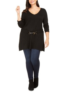 INC International Concepts Inc Plus Size Belted Tunic Sweater, Created For Macy's