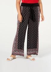 INC International Concepts Inc Plus Size Border-Print Tie-Waist Pants, Created for Macy's